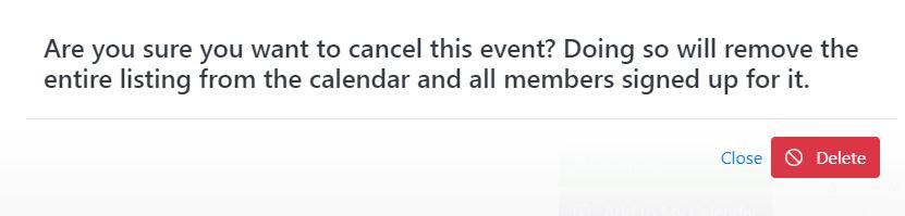 Event Delete/Cancel Confirmation