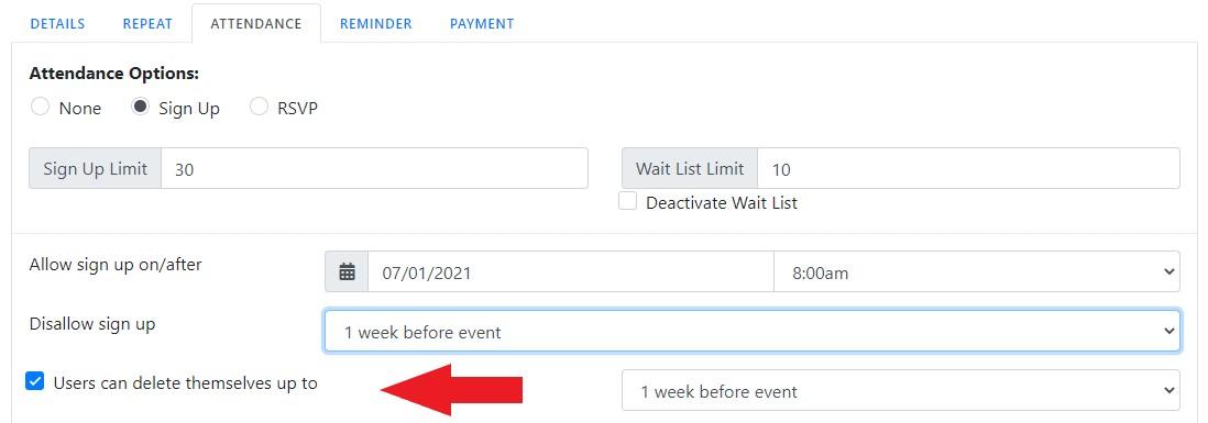 Event User Delete