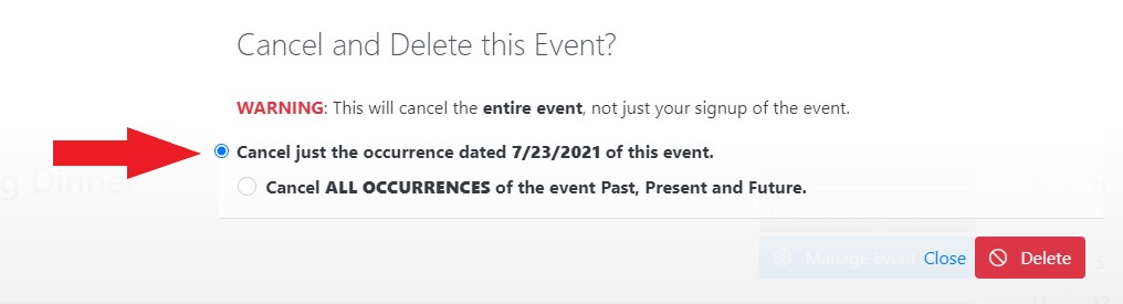 Cancel Event Occurrence